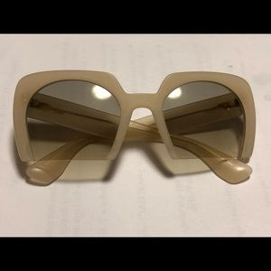 Miu Miu Rasoir Cutoff white Square Sunglasses